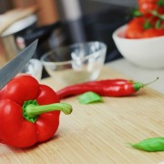 Sweet Pepper Cutting Capsicum Bell Pepper Red Knife Cutting Tagrisk Restaurant Industry